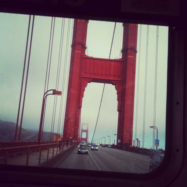 View of the Golden Gate Bridge from the bus